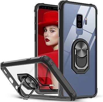 LeYi Coque pour Samsung Galaxy S9 Plus avec Anneau Support, Cristal Transparente Militaire AIR Cushion Antichoc Protection Etui Rigide Bumper ...