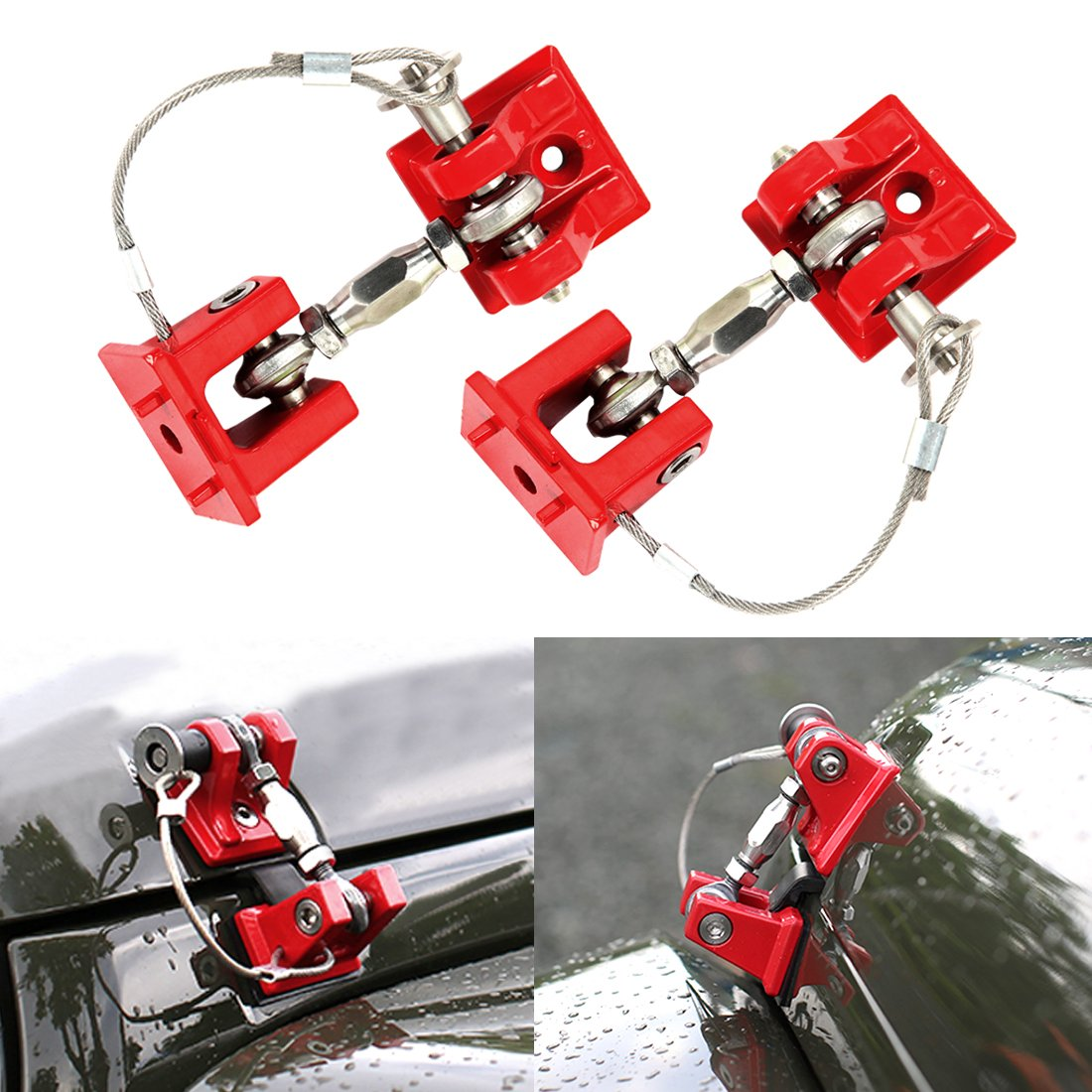 Iparts Red Hood Catch Kit Assembly Lock Latch Sets for 2007-2017 Jeep Wrangler JK&JKU - Pair