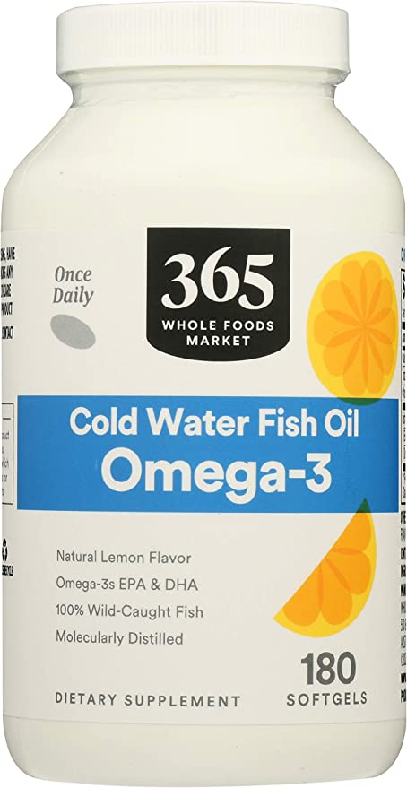 Amazon Com 365 By Whole Foods Market Supplements Omega 3 Cold Water Fish Oil 180 Count Health Personal Care