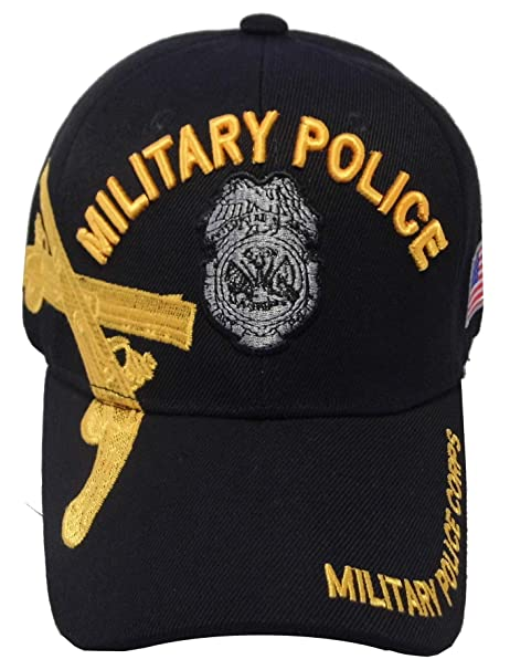 3963ac619a68e Amazon.com  US Warriors U.S. Army Military Police with Gold Pistols  Baseball Hat One Size Black  Clothing