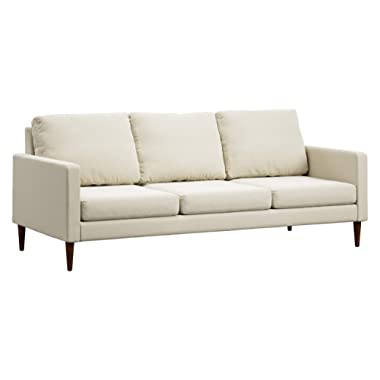 Campaign 86-Inch Steel Frame Brushed Weave Sofa, Almond White with Mahogany Stained Solid Oak Legs