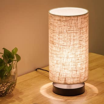 Lifeholder Table Lamp, Bedside Nightstand Lamp, Simple Desk Lamp, Fabric  Wooden Table Lamp