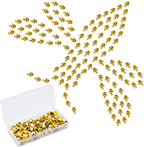50 Pcs Tiny Bee Embellishment - Bumble Bee Shaped Craft Decor Resin Self-Adhesive Painted Decorations for DIY Craft Party Home Decor