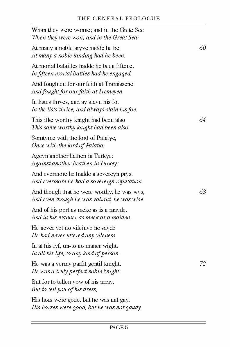 Chaucer S Canterbury Tale Selected An Interlinear Translation Amazon Co Uk Andrew Galloway 9781438000138 Books General Prologue Paraphrase