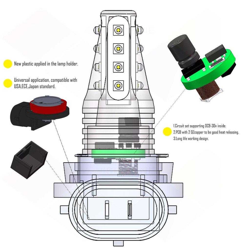 Wiseshine H11 Red Led Fog Light Bulb Design Dc9 30v 3 Traffic Circuit Diagram Years Quality Assurance Pack Of 2 16 High Power Automotive