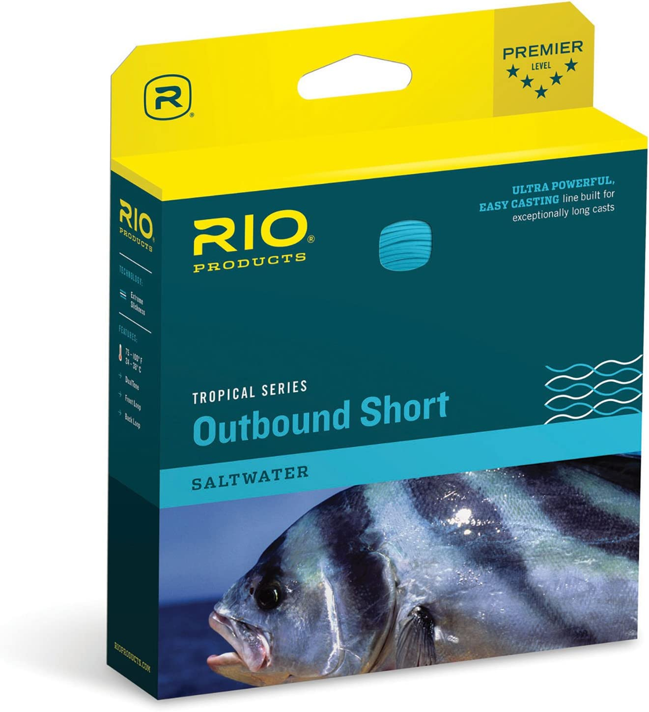 Rio Fly Fishing Tropical Outbound Short Fly Line CLR Blue Ivory WF8F I