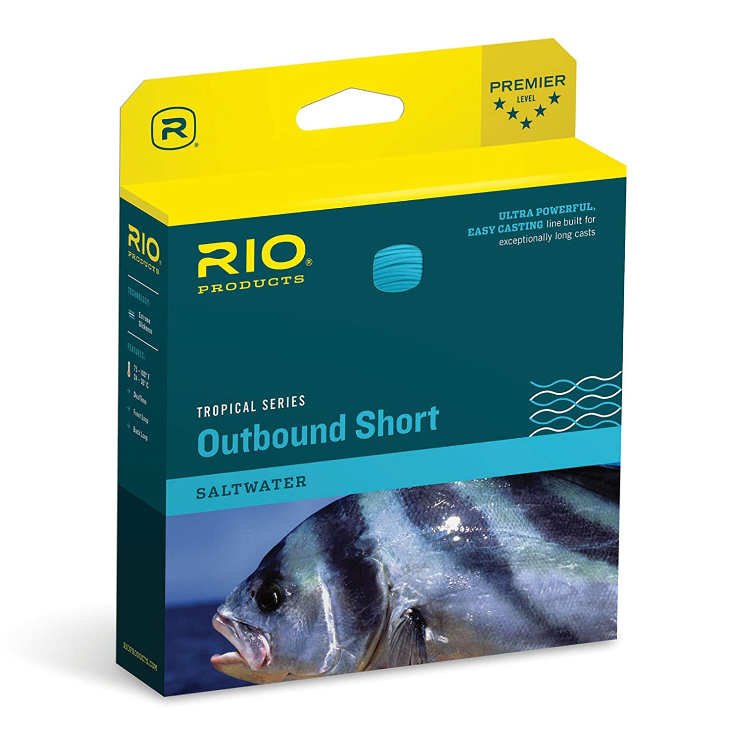 Rio Fly Fishing Tropical Outbound Short Fly Line CLR//Blue//Ivory WF8F//I