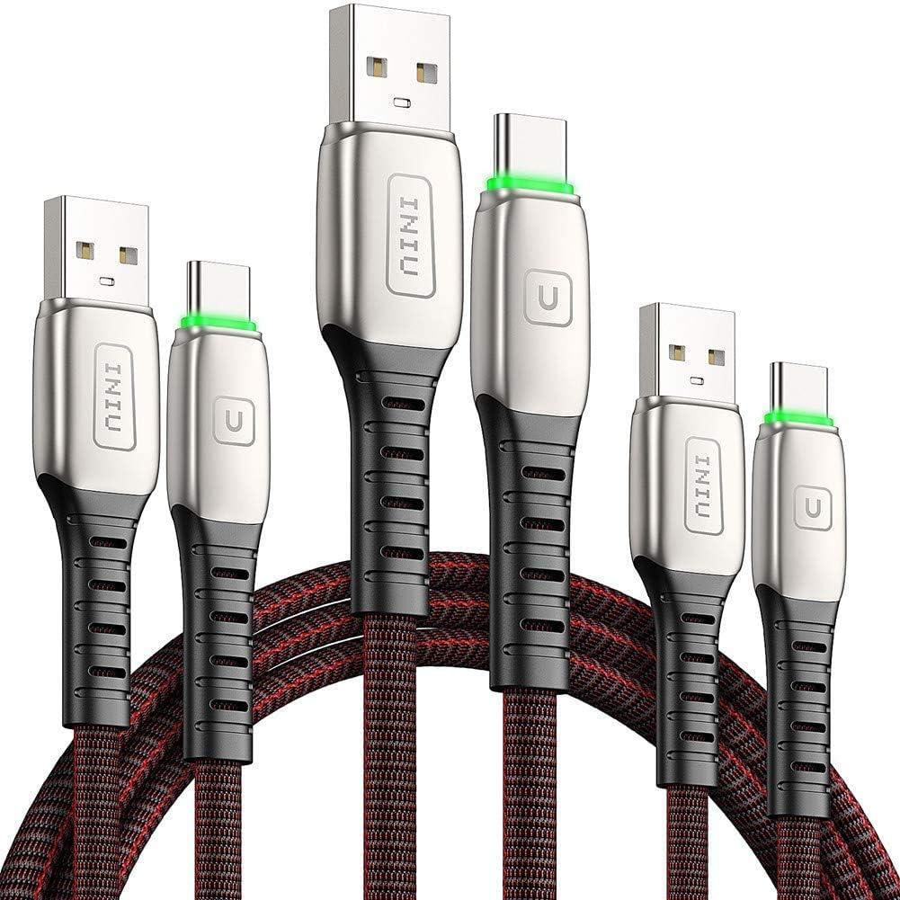 INIU USB C Kabel, [3 Stück] 3.1A QC 3.0 USB Typ C Ladekabel