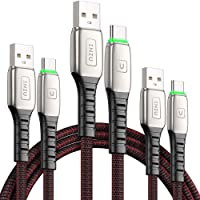INIU USB C Cable, [3 Pack] 3.1A QC 3.0 Fast Charging Type C Cable, Ziny Alloy Phone Data Cord with Organizing Strap, (6…