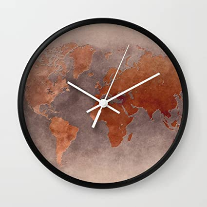 Amazon society6 world map 7 brown wall clock black frame white society6 world map 7 brown wall clock black frame white hands gumiabroncs Image collections