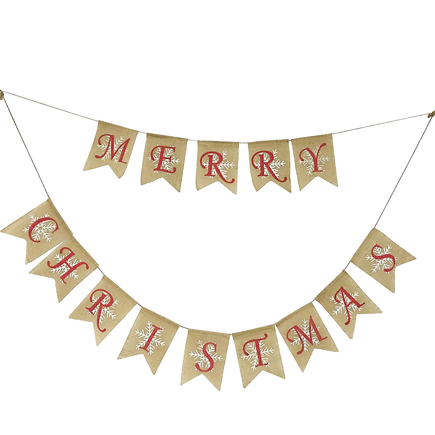 Partyprops Natural Jute Burlap Merry Christmas Garlands Banner for Holiday Decoration, Displaying and Embellishing