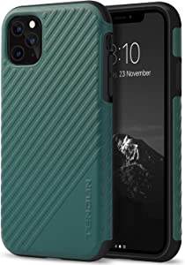 TENDLIN Compatible with iPhone 11 Pro Case Comfortable Leather Good Grip Hybrid Case (Midnight Green)