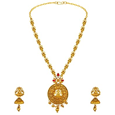 b5b452c6044a16 Buy Spargz Traditional Laxmi Design Gold Plated Opera Style Necklace  Jewellery Set For Women Ains_389 Online at Low Prices in India | Amazon  Jewellery Store ...