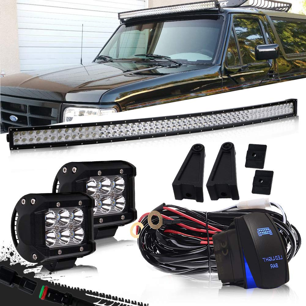 DOT 54'' Inch Curved Led Light Bar Combo Grill Windshield Bumper Light Bar + 4Inch Offroad Led Fog Light + 1x Rocker Switch + 1x Wiring Harness for Truck Ford Toyota Tundra Chevy Boat Jeep GMC UTV by QUAKEWORLD