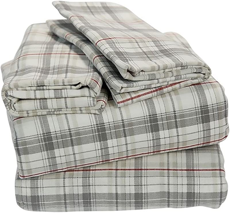 Amazon Com Eddie Bauer Flannel Sheet Set Shirting Plaid Twin Home Kitchen