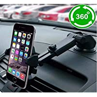 CEUTA® Car Mobile Phone Holder - Telescopic One Touch Long Neck Arm 360 Degree Rotation with Ultimate Reusable Suction Cup Mount for Car Dashboard/Windshield/Desktop (Black)