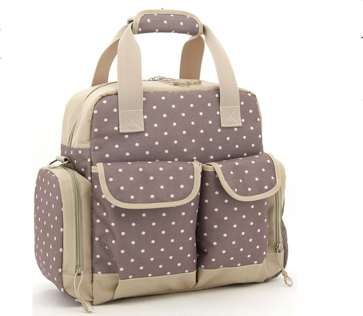 Baby Lovess 5 In 1 Diaper Tote Bags Baby Nappy Bag Mummy Handbag Backpack, Khaki Dot