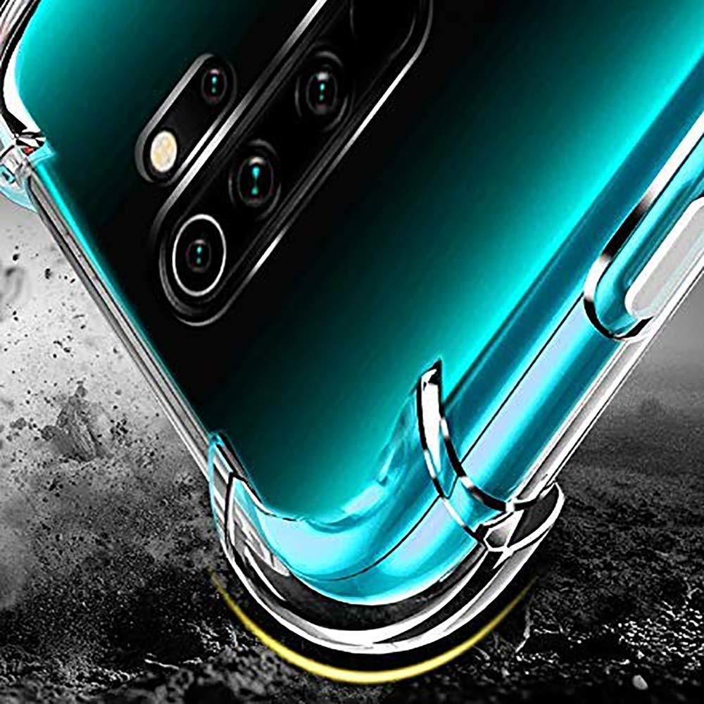 UCMDA Coque pour Redmi Note 8 Pro & Verre trempé écran Protecteur, Souple Etui Transparente Silicone TPU Shockproof Bumper Housse de Protection pour Xiaomi Redmi Note 8 Pro