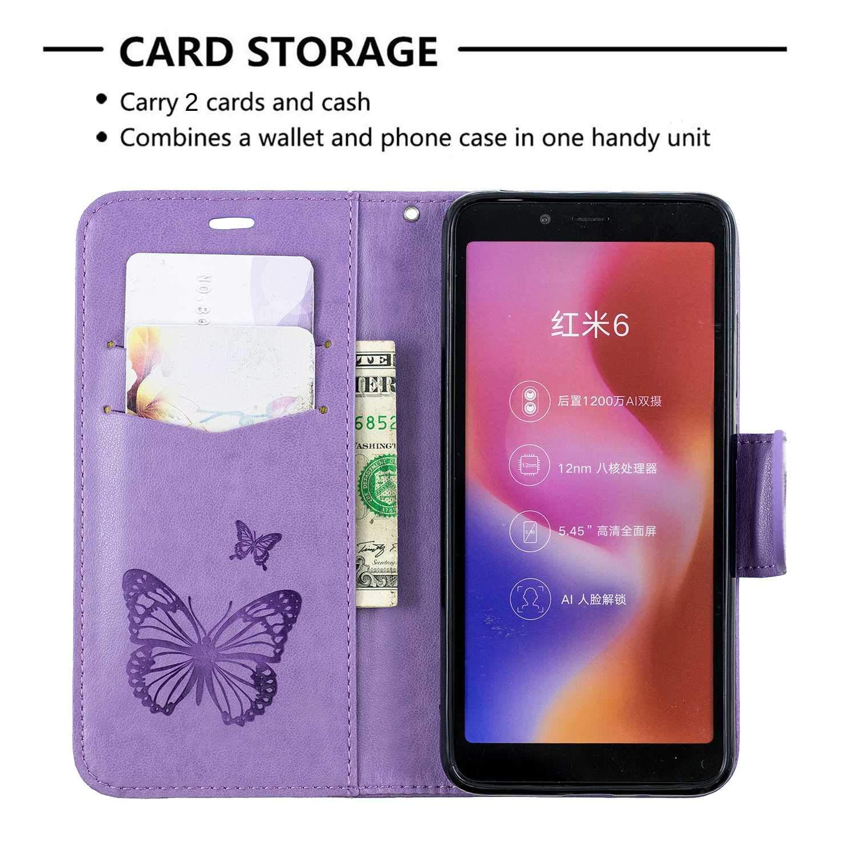 DENDICO Funda Billetera para Xiaomi Redmi 6 Oro Rosa Case para Xiaomi Redmi 6 PU Cuero Flip Funda con Cierre Magn/ético Protectora y Cierre Magn/ético Protectora
