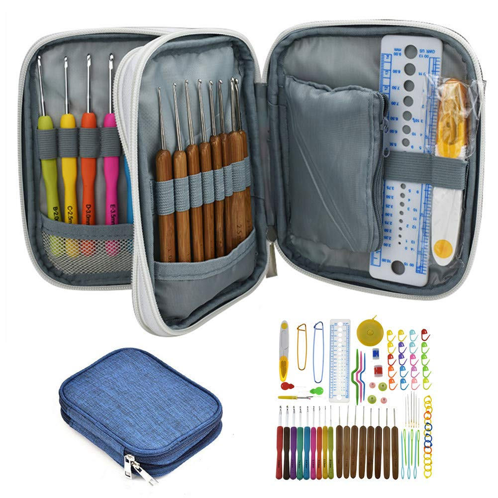 Katech Crochet Hook Set with Storage Bag, 81 pcs Knitting Accessories - Bamboo Crochet Hooks Colorful Ergonomic Crochet Needles Kits DIY Weave Yarn Hand Craft Knitting Tools for Crochet Lovers (Blue)