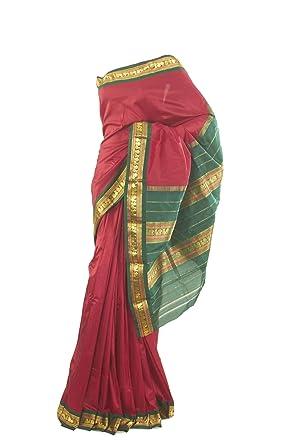 560c7c568eebf Mysore Saree Udyog - Saree with Blouse-Traditional Silk Pure Dark ...