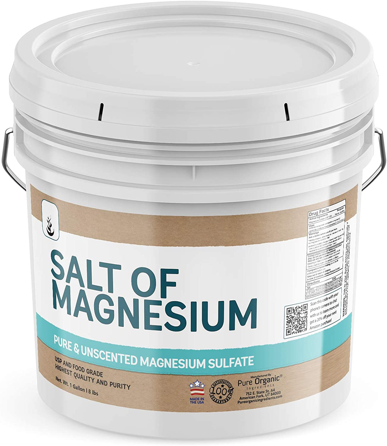 Salt of Magnesium: Pure Epsom Salt (1 Gallon Bucket), USP & Food Grade, Unscented, Soothes Sore Muscles, Natural Exfoliant