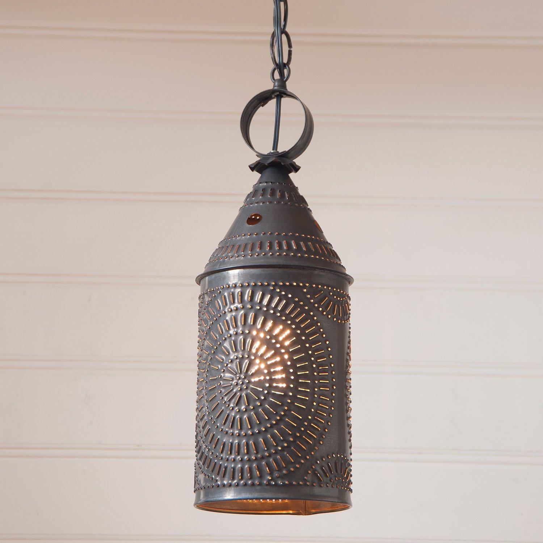 15'' Electrified Hanging Lantern Pendant in Blackened Punched Tin