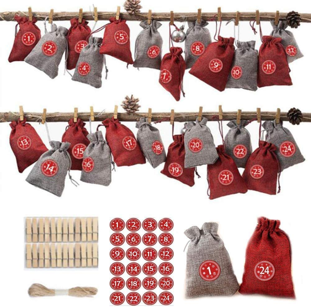 24x Advent Calendar Line Jute Drawstring Gift Bag Christmas Candy Bag Pouch Sacks Bag Xmas Party Burlap Bag with Line Clips NO. Stickers for Christmas Favors Gift DIY Decoration Gray/Red, Pack of 24