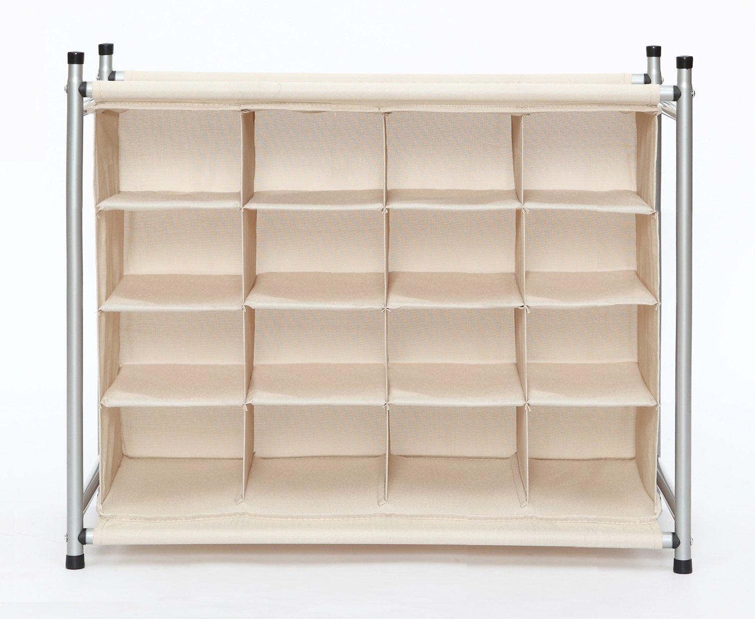 STORAGE MANIAC 4-Tier 16-Cube Stackable Shoe Rack Organizer, Free Standing Shoe Storage Cubby, Beige