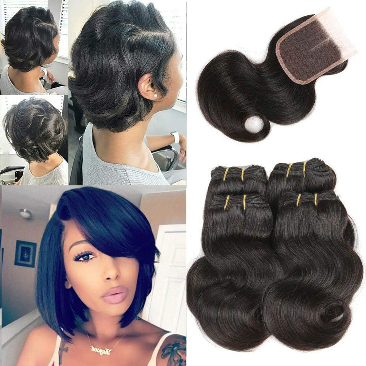 Amazon Com Luxnovolex Body Wave Bundles With Closure Sewn In Wigs Unprocessed Human Hair Weave With Short Brazilian Hair Extensions 230g In Total 8 8 8 8 With 8 Beauty