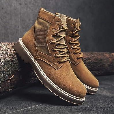 Amazon.com | Brand Men Shoes Autumn Winter Men Fashion Vintage Style Male Motorcycle Shoes Suede s Men Shoes Zapatillas Hombre, Brown, 9.5 | Shoes
