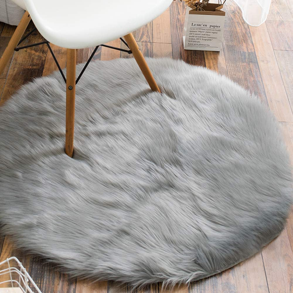 Carvapet Faux Sheepskin Fur Area Rugs Round Fake Fur Throw Rug Fluffy Home Decor Living Room Floor Mat Circular Bedside Carpet for Bedroom Soft Circle Kids Play Mat for Nursery, 3ft Diameter, Grey