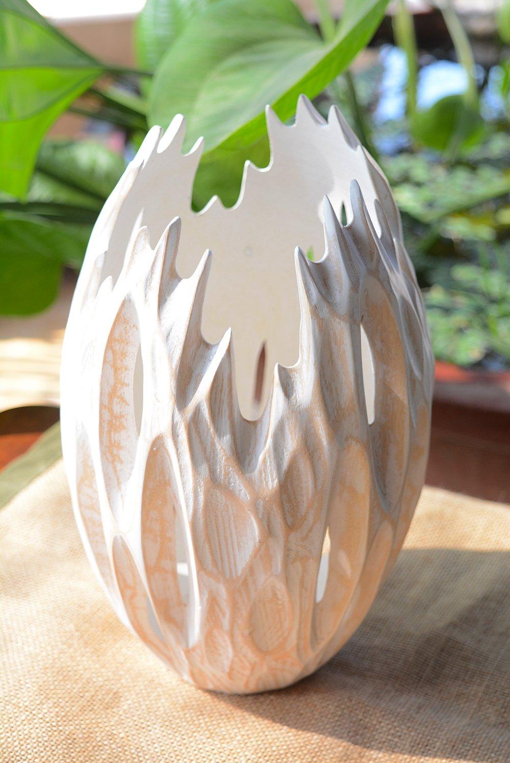 Roro Minimalist Handcarved Wood Vase with Upward Grooves (Whitewash) by roro (Image #3)