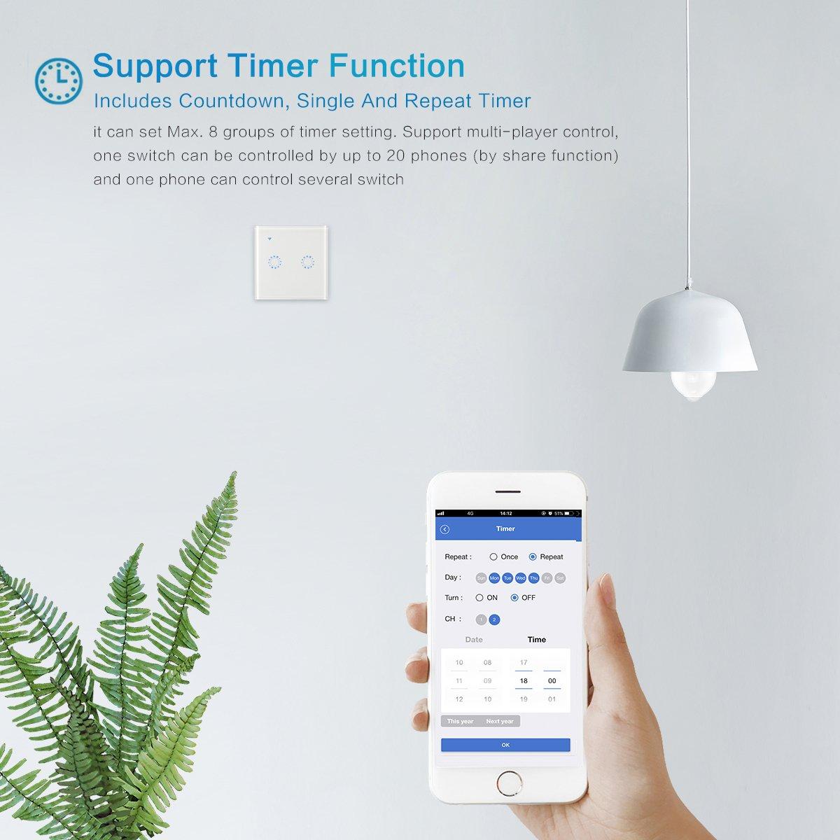 WiFi Touch Wand Leuchte Switch mit Alexa, AOZBZ 2 Weg Drahtlose ...