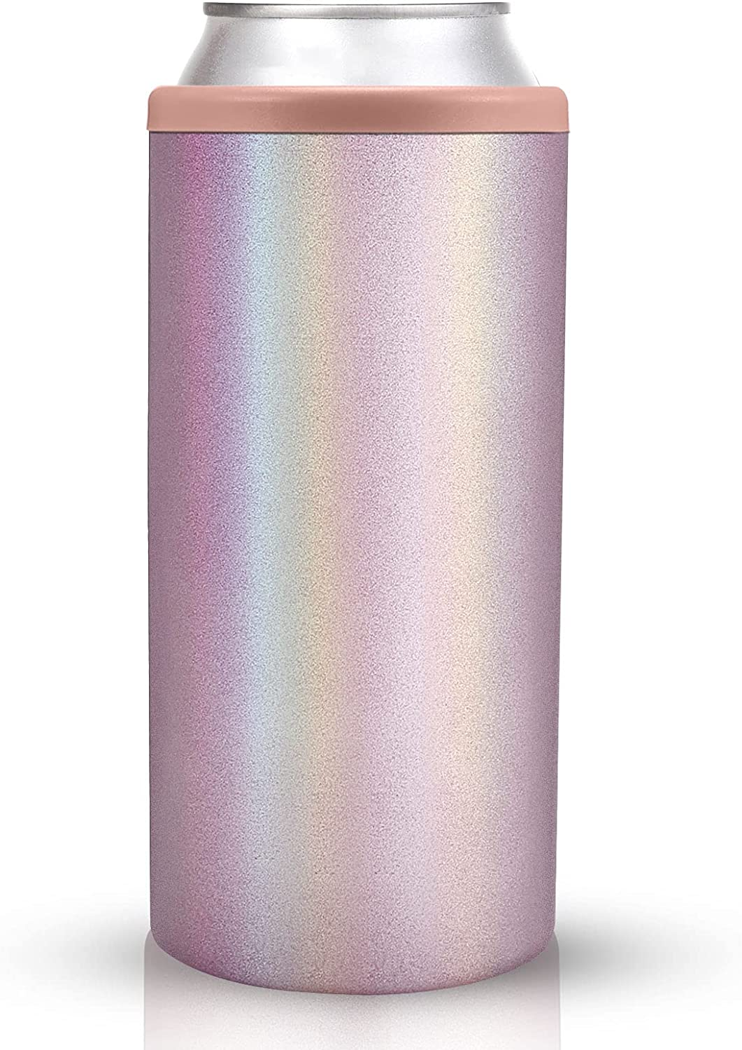 Sursip Stainless Steel Insulated Slim Can Cooler For 12 Oz,Double-walled Vacuum Stainless Steel Can Cooler Holder For Beer/Soda/Beverage/Energy Drinks Skinny Cans Keeper -Glitter Rose Gold