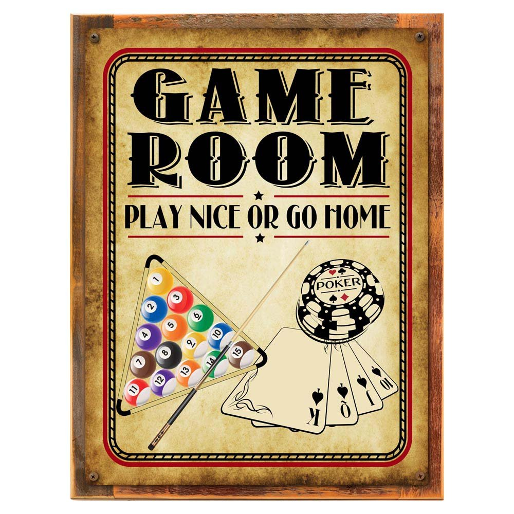 Amazon.com: Game Room Play Nice or Go Home Metal Sign, Poker ...