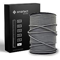 smartect Textilkabel för Lampor Mörkgrå - 2 Meter Tvinnad trasa täckt Tråd - 3 Prong (3 x 0.75mm²) Trasa Elektrisk Sladd…