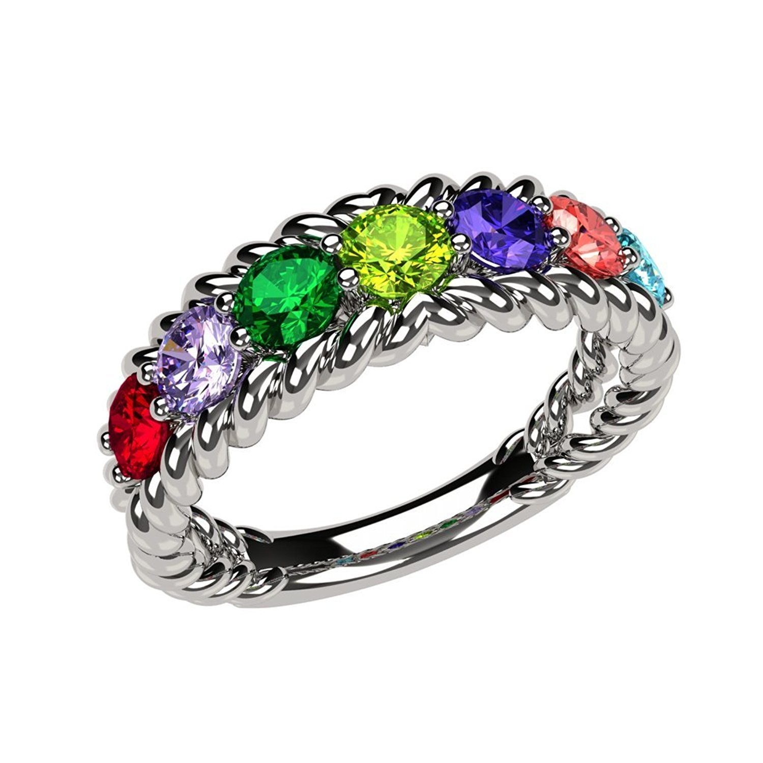 NANA Rope Mothers Ring 1 to 10 Simulated Birthstones- 10k White Gold - Size 5