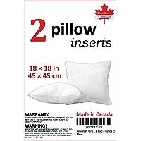 Decorative Pillow Insert 18x18, Premium Hypoallergenic, Regular Size, 2 Pack,Throw Pillow Insert, Square Sham Stuffer Pillow, 100% New Polyester Fiber Guarantee. Made in Canada (2)