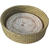 Handwoven Bread Roll Basket w Lotus Terracotta Warming Tile Stone 11 Inch Width (Natural)