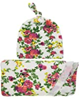 Winzik Newborn Baby Swaddle Blanket Floral Printed Receiving Blanket with Hat Wrapped Towel Set