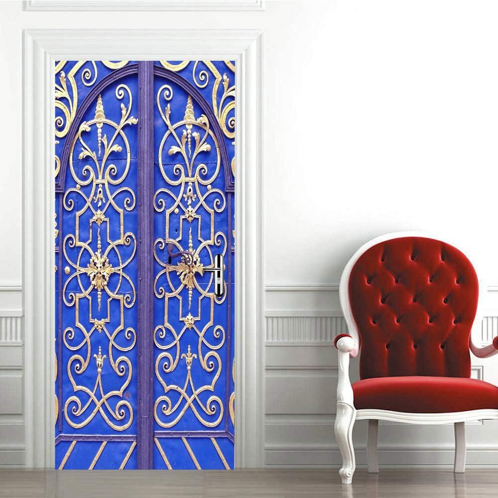 3D Puerta Mural Hierro esqueleto azul 80x210vm Sala de Estar niños Cocina Sala de Baño Puerta Fotos de póster Autoadhesivo Pegatina extraíble Vinilo Papel Pintado Arte Decorativos para Puerta Pared