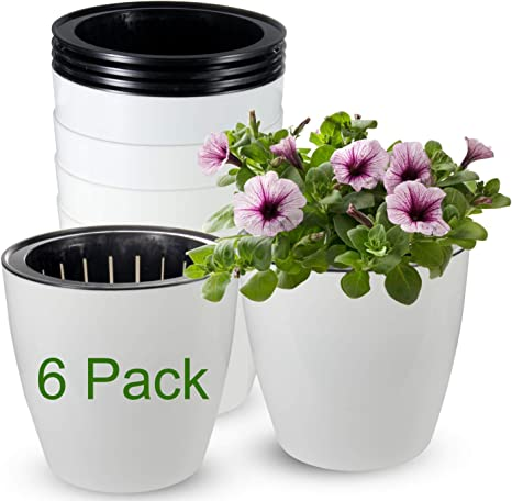 Self Watering Planter African Violet Pots With Intelligent Low Water Level Alarm Flower Plant Pot with Wick Rope Indoor for Succulent Herbs,All House Plants Flowers