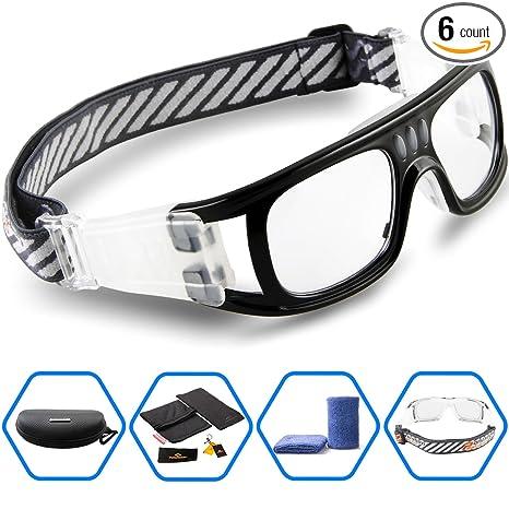 274e79e0101 PONOSOON Sports Goggles Glasses for Basketball Football Volleyball Hockey  1831 (Black)