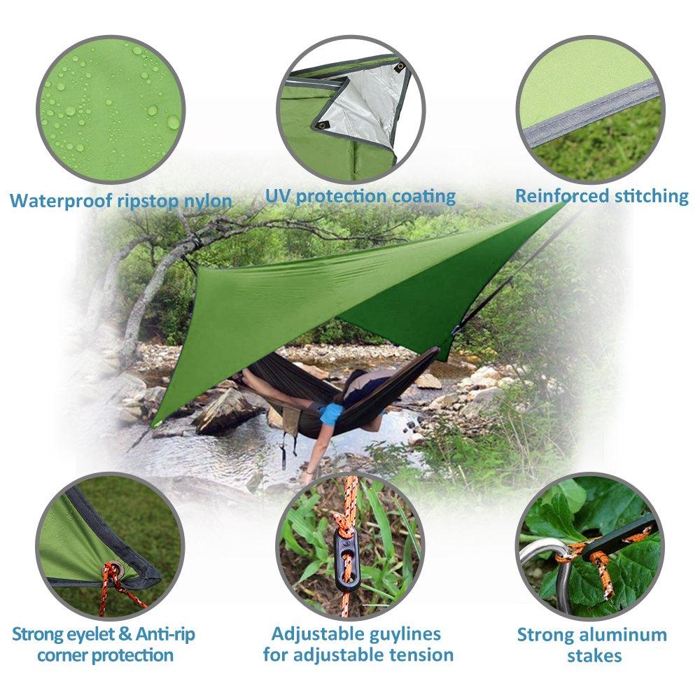3m Hammock Rain fly Waterproof Tent Tarp Outdoor Camping Shelter Beach Sunshade Waterproof Picnic Mat Survival Gear-Rip Stop Snowproof Easy Setup NATUREFUN Multifunctional 3
