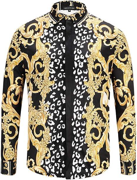 CHENS Camisa/Casual/Unisex/M Ropa Flores Doradas Rayas de Cebra Camisas de Moda para Hombre Camisas de Manga Larga Camisetas de algodón Oneck: Amazon.es: Deportes y aire libre