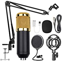 USB Streaming Podcast PC Microphone Gold Black, SUDOTACK Professional 96KHZ/24Bit Studio Cardioid Condenser Mic Kit with…