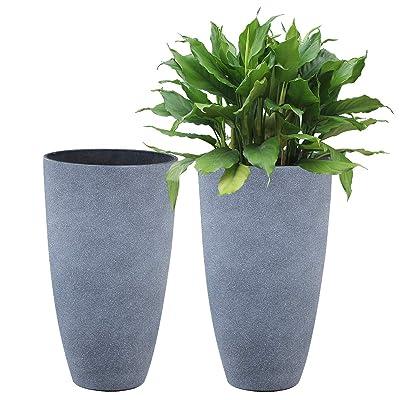 Tall Planters Set 2 Flower Pots, 20 Inch Each, Patio Deck Indoor Outdoor Garden Planters, Weathered Gray : Garden & Outdoor