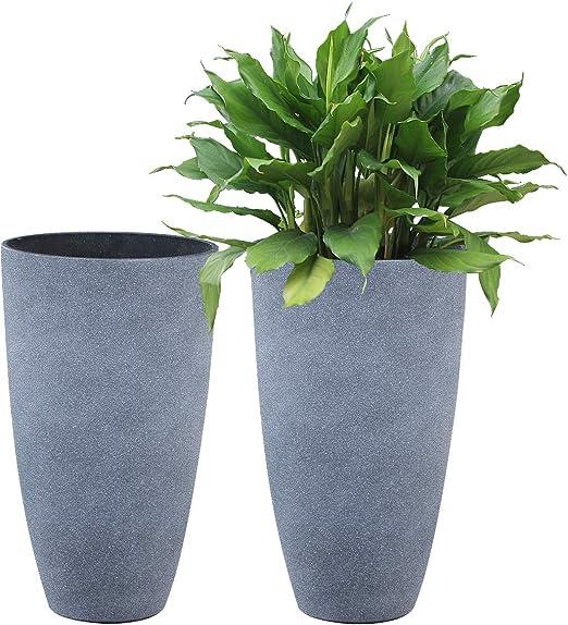 Juego de 2 macetas altas de resina para terraza, patio, interior, exterior, jardín (color: gris, altura: 50 cm).: Amazon.es: Jardín