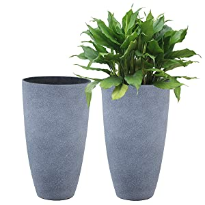 Tall Planters Set 2 Flower Pots, 20 Inch Each, Patio Deck Indoor Outdoor Garden Resin Planters, Gray